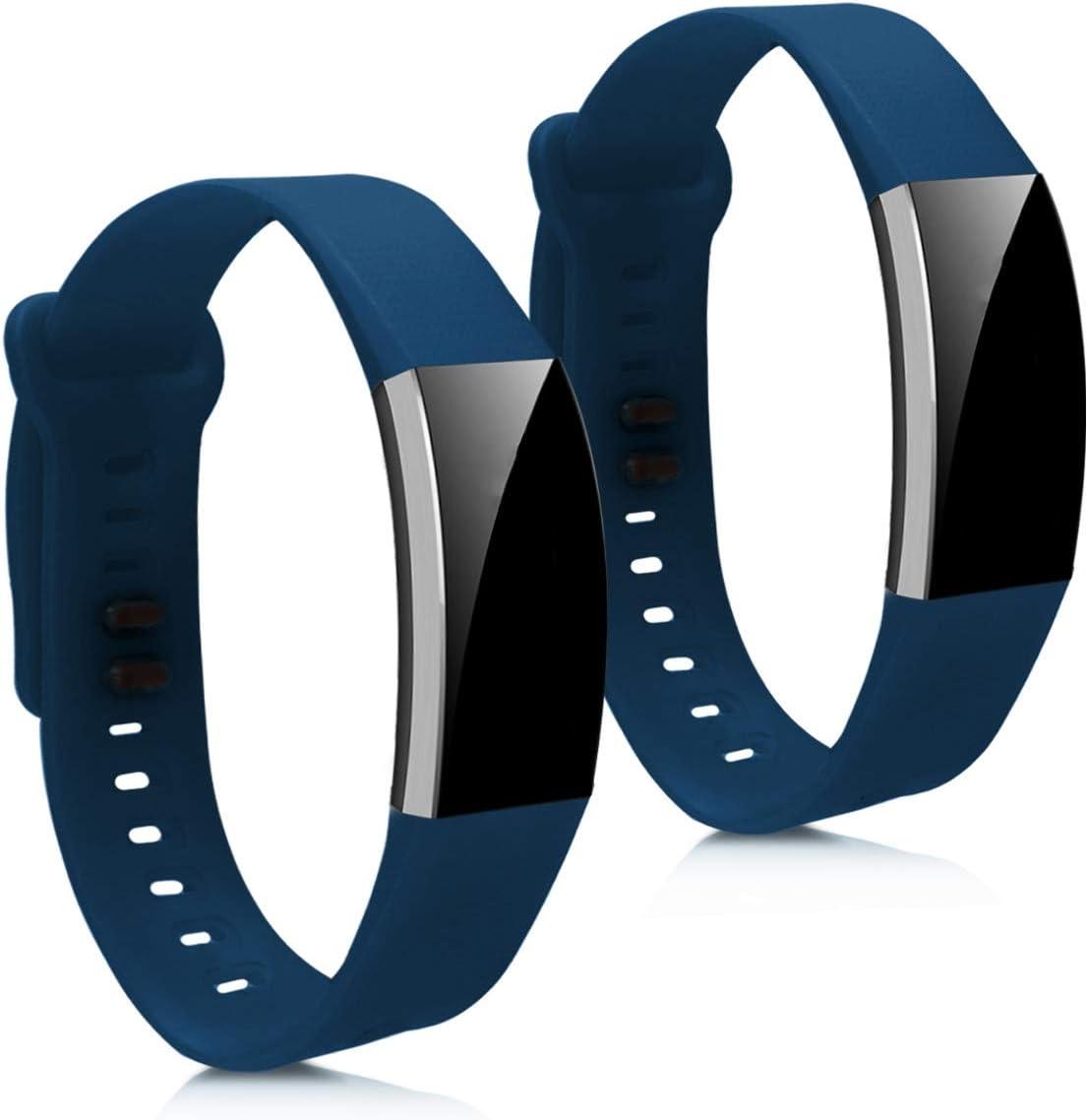 kwmobile 2X Pulsera Compatible con Huawei Band 2 / Band 2 Pro - Brazalete de Silicona Azul Oscuro sin Fitness Tracker