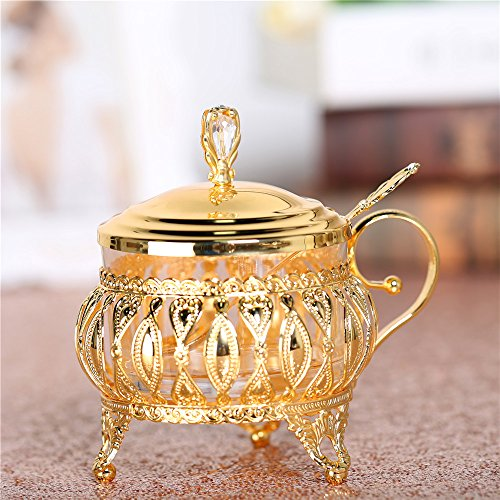 Crystal Berry Bowl ( Glass Liner Condiment Pot with Lids and Spoons, Seasoning Container Sugar Bowl Berry Jam Spice Jar Cup with Golden Stainless Steel Holders for Syrup Cream Salt)