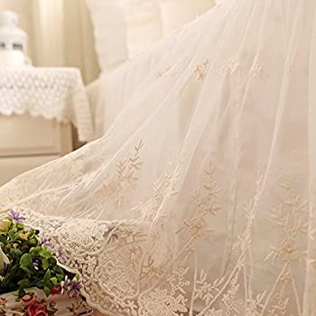 Image of Brandream Romantic White Lace Bed Skirts Cal King Size Shabby Farmhouse Bedding Bed Cover Skirt 100% Cotton Dust Ruffle Bed Skirts 18 Inch Drop