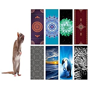 """Eco Fuse Yoga Mat By Nalahome-72""""x26""""x3mm Thick Natural Rubber And Microfiber cute domestic brown rat standing n a tiptoe For All Yoga Practices, Bikram, Hatha, Ashtanga, Hot Yoga, Home Workout"""