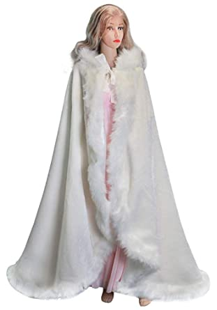 1eb5a0b6c687e ShineGown Women White Bridal Cape Faux Fur Trim Winter Christmas Capes for  Child Kids Floor Length Stunning Wedding Cloaks Hooded Long Party Wraps  Jacket: ...