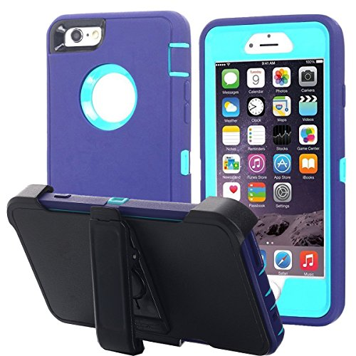 Ai-case C-132 iPhone 6 Plus Case, iPhone 6S Plus Case [Heavy Duty] Built-in Screen Protector Tough 4 in1 Rugged Shorkproof Cover for Apple iPhone 6 Plus /6S Plus (Purple/Blue)