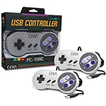 Hyperkin CirKa S91 Premium SNES-Style USB Controller for Mac/Windows PC, 6' Cable Length, White 2-Pack (M07116)