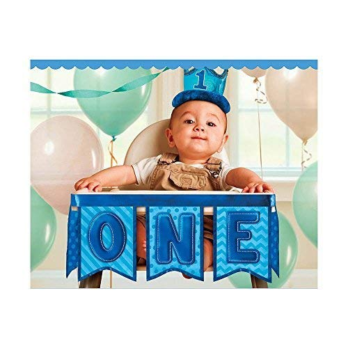 1st Birthday Deluxe High Chair Decoration - Blue -