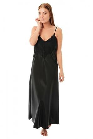 a18f381b5021b Undercover Womens Satin & Deep Lace Long Chemise Nightdress N50 Black WMS