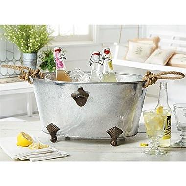 Mud Pie 4865011 Footed Bottle Opener Beverage Tub Ice Bucket, Silver