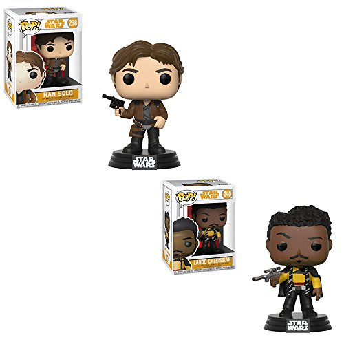 Funko POP! Disney Solo A Star Wars Movie: Han Solo and Lando Calrissian Bobble-Head Toy Action Figure - 2 POP BUNDLE