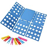 Ohuhu Clothes Folder with Towel Clips - Adult Dress Pants Towels T-shirt Folder / Shirt Folder/ Laundry Folder Board Organizer, Blue