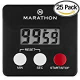 MARATHON TI080006BK-25PK Digital Timer with Magnetic Clip and Count Up/Down - Black, Batteries Included