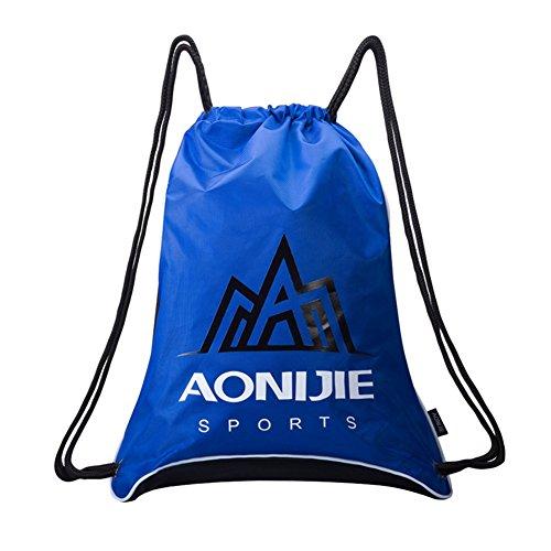 elegantstunning Unisex Belted Drawstring Backpack General Outdoor Travel Large Capacity Double Shoulder Bag Blue ()