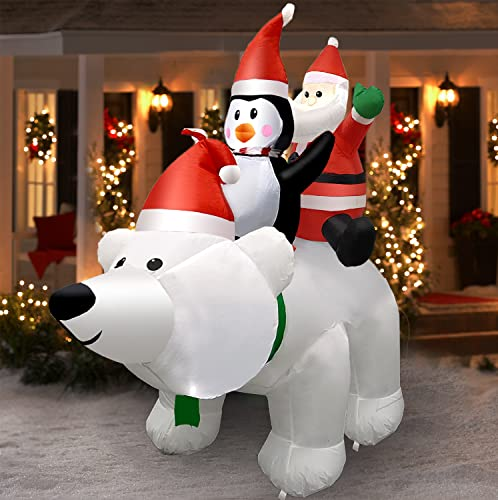 Christmas Inflatable Decorations 6ft Polar Bear with Santa Claus and Penguin,Build-in LEDs Blow Up Inflatables for Christmas Party Indoor, Outdoor, Yard, Garden, Lawn, Winter Decor, Holiday Season