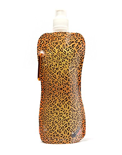 16 Oz Multicolor Pocket Bottles Zees Inc Cb1031 Leapord Pattern Foldable Bottle