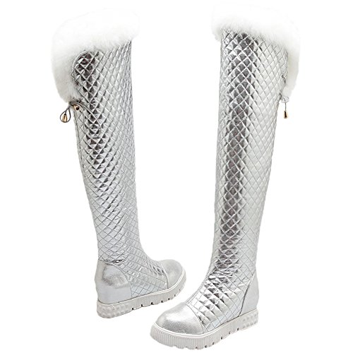 Boots Rhombus Hooh Platform Winter High Rabbit Knee Women Fur Silver On Warm A8x8taq