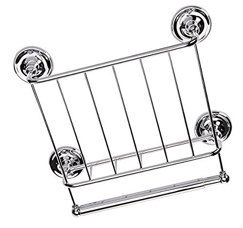 Organize It All Wall Mounted Magazine Storage Rack with Bathroom Toilet Paper Storage - Chrome by Organize It All