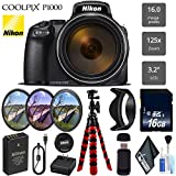 Nikon COOLPIX P1000 Digital Camera 16MP 125x Optical Zoom & Build in Wi-Fi + UV CP FLD Filter Kit - International Version
