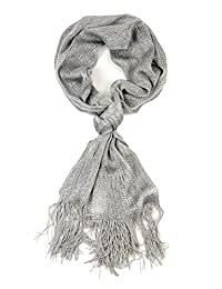 NYfashion101 Fashionable Metallic Sparkly Glitter Thread Lightweight Tassel Scarf Silver