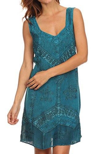 Sakkas 1503 - Sudha Stonewash Embroidery Mid Length Adjustable Dress - Turquoise Blue - S/M ()