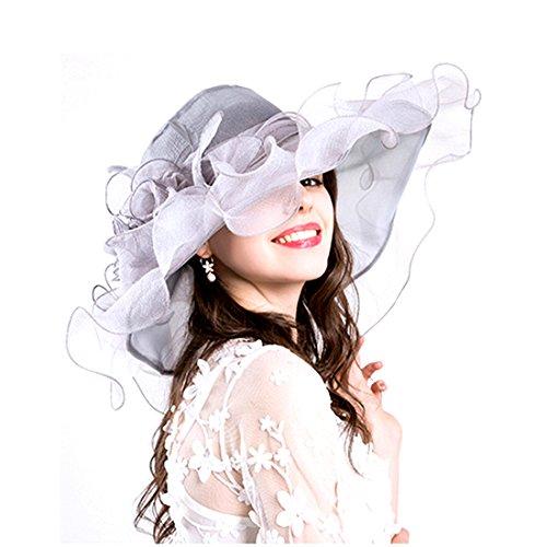 (Women Foldable Organza Church Derby Hat Ruffles Wide Brim Summer Bridal Cap for Wedding Tea Party Beach (Grey-a))