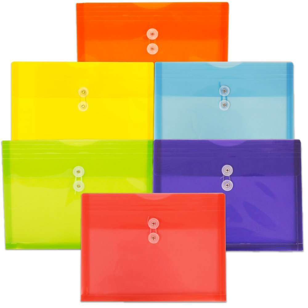 JAM Paper Plastic Envelope with Button and String Tie Closure - Letter Booklet - 9 3/4'' x 13'' - Assorted - 6/pack