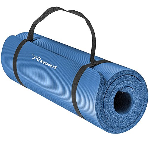 REEHUT 1/2-Inch Extra Thick High Density NBR Exercise Yoga Mat for Pilates, Fitness & Workout w/Carrying Strap (Blue)