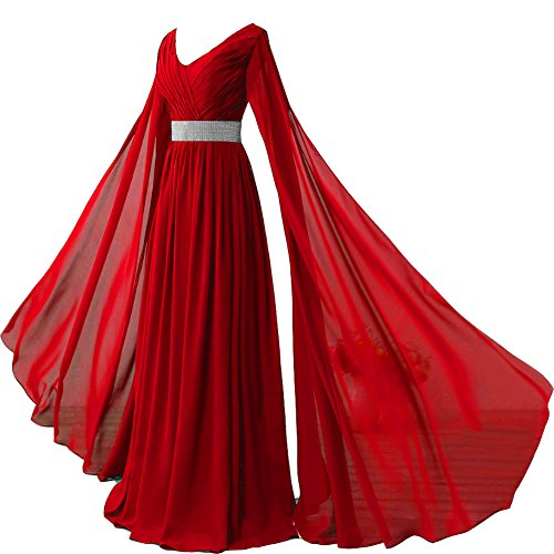 V Neck Long Sleeves Chiffon Formal Prom Vintage Evening Dresses Plus Size Wine Red US 22W (Best Greek Red Wines 2019)