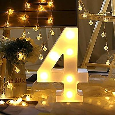 bqmqolove - Lámpara LED con número 0 a 9 para decoración de Fiestas de cumpleaños o Bodas, 4