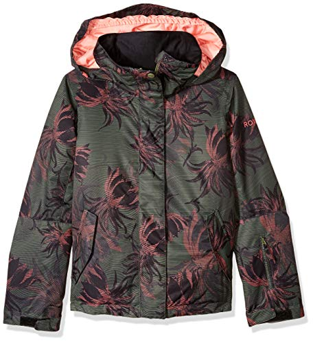 Roxy Little Jetty Snow Jacket, True Black_SWELL Flowers Girl, 8/S (Black Roxy Ski Jacket)