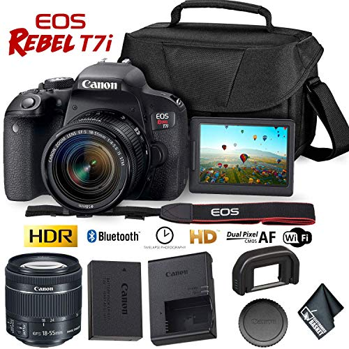 Canon EOS Rebel T7i DSLR Camera 18-55mm Lens + Carrying Case (Best Entry Level Dslr For Beginners)