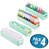 mDesign Storage Organizer Bin for Kitchen Cabinet, Pantry, Refrigerator, Countertop - BPA Free & Food Safe - Kids/Toddlers Bottles, Sippy Cups, Food Pouches, Baby Food Jars - 4 Pack, Mint Green