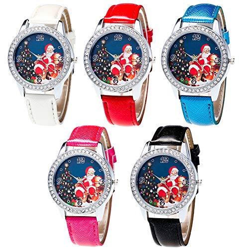 Christmas Pattern Rhinestone Dial Faux Leather Strap Couples Analog Quartz Wristwatch by Gaweb (Image #2)