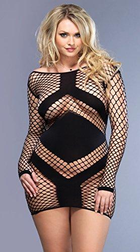 (Leg Avenue Sexy Plus Size Diamond Fish Fishnet Mini Dress with Panel)
