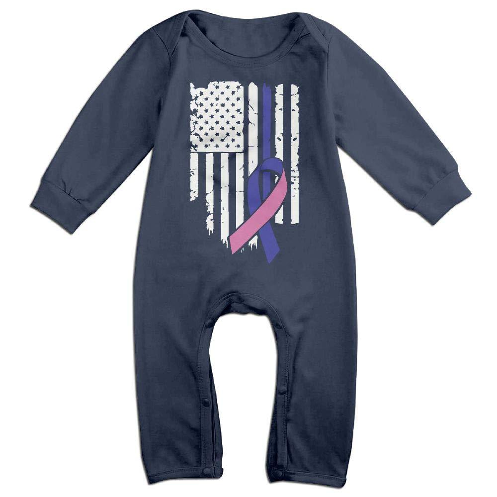 Mri-le1 Baby Boy Long Sleeve Jumpsuit USA Flag Thyroid Cancer Awareness-1 Kid Pajamas