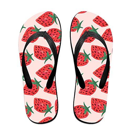 Unisex Strawberries Summer Strap Flip Flops Beach Slippers Platforms Sandal For Men Women Black E1F4R1eDf8