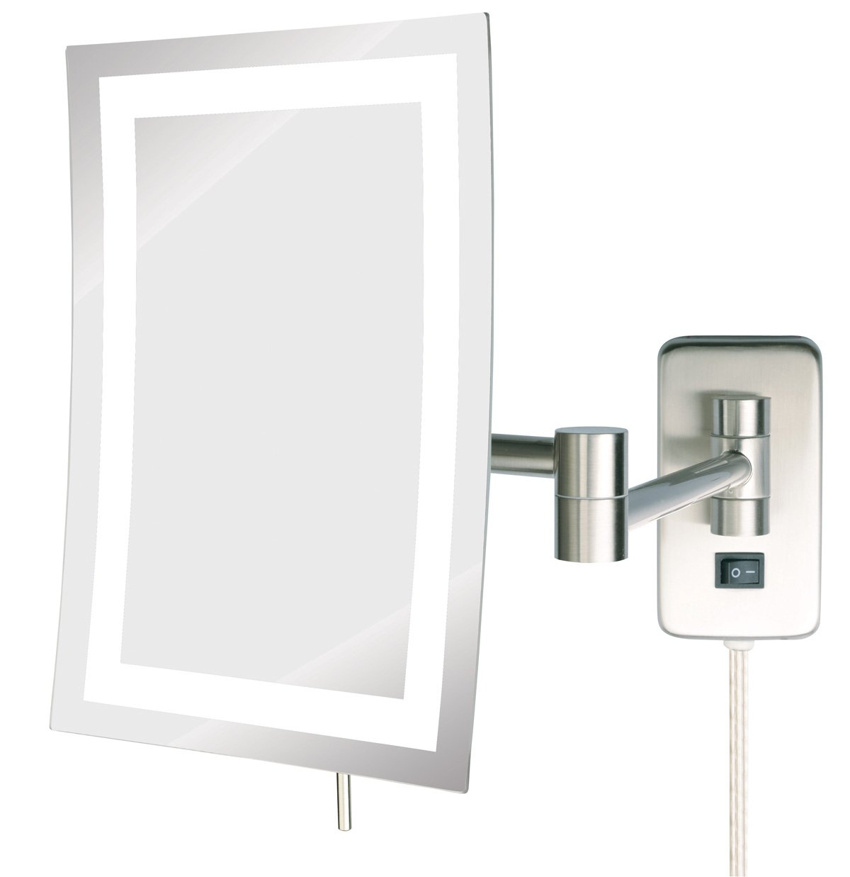 Jerdon JRT710NL 6.5-Inch by 9-Inch LED Lighted Wall Mount Rectangular Makeup Mirror, Nickel Finish by Jerdon