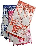 Koko Uruli Artichoke Print Tea Towel, 27 by 21-Inch, Set of 3