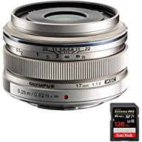 Olympus M.Zuiko 17mm f1.8 Lens Silver (V311050SU000) with Sandisk Extreme PRO SDXC 128GB UHS-1 Memory Card