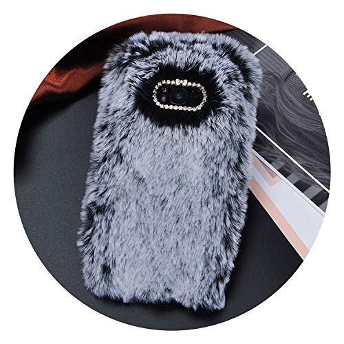 Luxury Fur Plush Diamond Phone Case for Samsung S6 S7 S6 S7 Edge S8 S9 Plus J5 J7 A5 A7 Lovely Cute Furry Warm Back Cover,Gray,for Samsung A7 2017 - Plus Intrinsically Safe