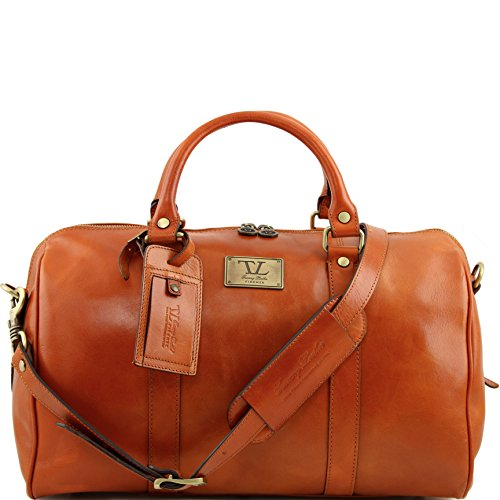 Tuscany Leather TL Voyager Travel leather duffle bag with pocket on the back side - Small size Honey by Tuscany Leather