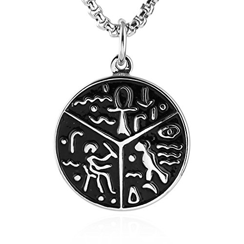 (HZMAN Egypt Coptic Ankh Cross Religious Symbol of Protection Stainless Steel Pendant Necklace)
