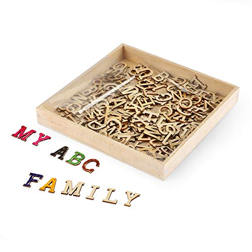 Joy-Leo 0.8 Inch Small Wooden Craft Alphabet Letters Wood Cutouts with Storage Tray(234pcs/Capital A to Z), Wood Letters Cutouts for Sign Crafts & Wall Room Décor& Decorative Signs &Party Decoration (Small Craft Letters)