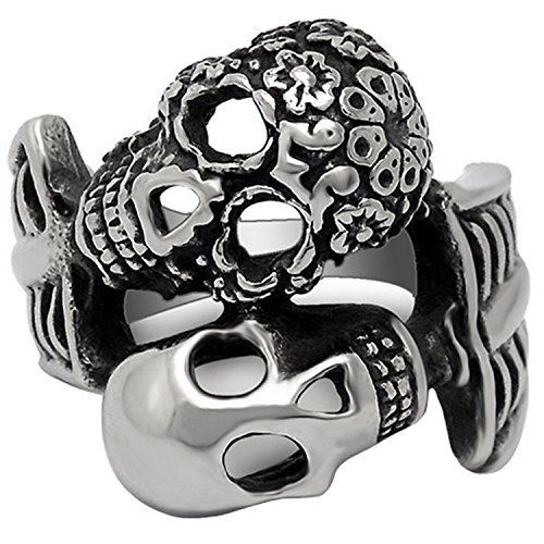 Claire Jin Double Skulls Ring Men Jewelry Patterned Smooth Vintage Rings Stainless Steel and Titanium (8)