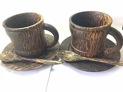 Set of 2 Natural Sugar Palm Wood Coffee Mug ,Handmade Wooden Small Mug Tea Cup, Brown 200 ml (Aussie Flag Dress)