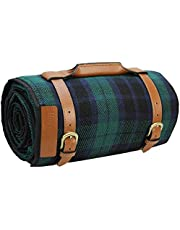 HappyPicnic Picnic Blanket Rug | Extra Large Mat Outdoor Blankets 87 Inch x 67 Inch with Waterproof Layer for Picnics Camping | Sand Proof Mat with Adjustable Shoulder Strap (Blue)