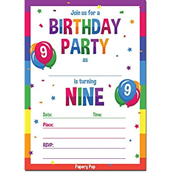amazon com papery pop 9th birthday party invitations with envelopes