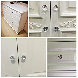 NORTHERN BROTHERS Drawer Knob Pull Handle Crystal Glass Diamond Shape Cabinet Drawer Pulls Cupboard Knobs with Screws for Home Office Cabinet Cupboard Bonus Silver Screws DIY (20 Pieces)