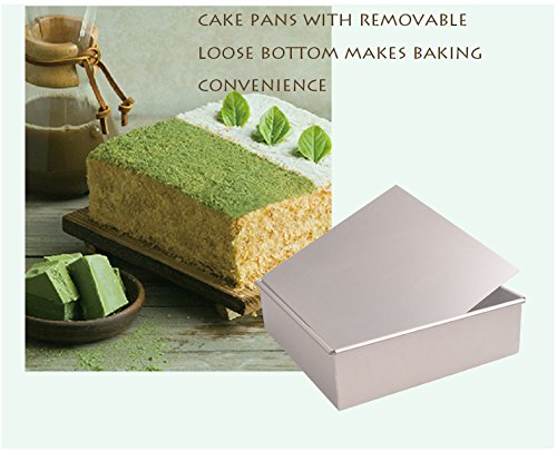 FashionMall Square Non-stick Bakeware, Oven Roasting Baking Loaf Pan Cake Tin, Cake Making Molds Cake Pans with Removable Loose Bottom, Silver (10 inch) by Bakest (Image #4)