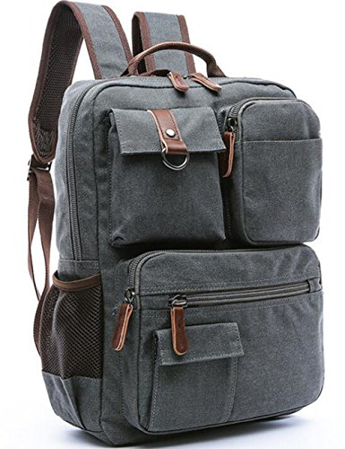 Aidonger Vintage Canvas School Backpack Laptop Backpack (Gray)