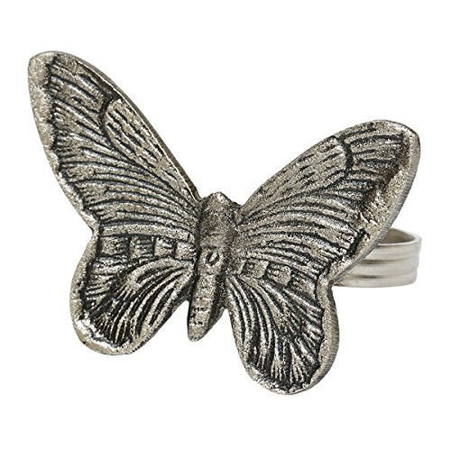 Brass Butterfly Napkin Ring with Antique Silver Finish, Set Of -