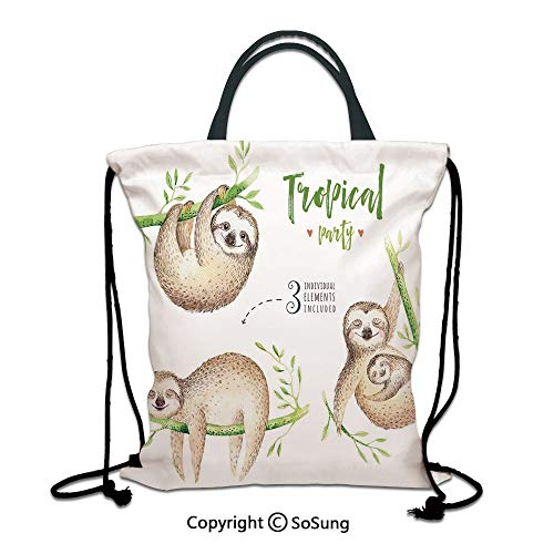 (Sloth 3D Print Drawstring Bag String Backpack,Cute Babies in Tropical Nature Theme Exotic Palm Tree Leaves Nursery Aloha Decorative,for Travel Gym School Beach Shopping,Light Brown Green)