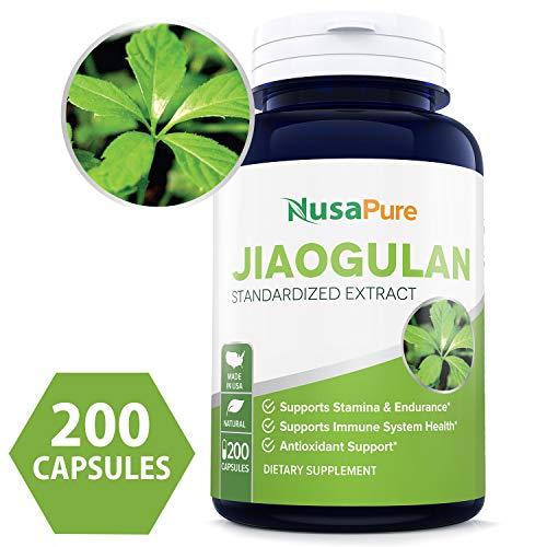 Best Jiaogulan 820mg 180 Capsules (Non-GMO & Gluten Free) Max Strength - Gynostemma Pentaphyllum AMPK Activator, Caffeine-Free Adaptogen Pills, Ginseng (Jiaogulan) Root Powder Extract